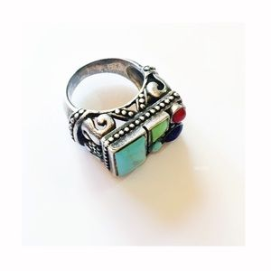 Vintage Sterling 925 Turquoise, Coral, Lapis Ring